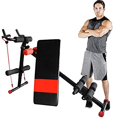 N/Q Huayishang Core & Abdominal Trainer, Height Adjustable Abdomen Machine Weight Decline Bench, Foldable Strength Training Ab Equipment, Side Shaper Waist Cruncher Fitness Device Home&Gym Use