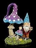 Figuren Shop GmbH Gartenzwerg Gartenfigur mit Pilz und Schnecke | Dekofigur, Handbemalt