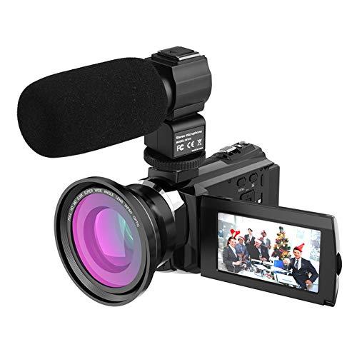 Andoer 4K 1080P 48MP WiFi Câmera de vídeo digital Gravador de filmagem com lente de macro grande angular 0.39X Microfone externo Novatek Chip 3inch Touchscreen capacitivo IR Night View Infrared