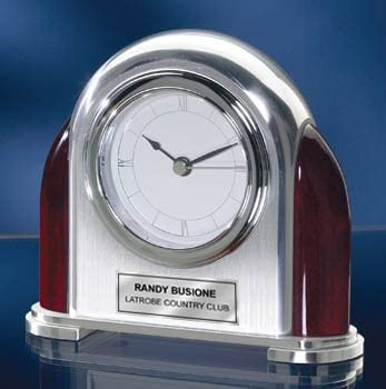 Personalized Max 85% OFF Rounded Large discharge sale Chrome oand Brush Arch wi Silver Desk Clock