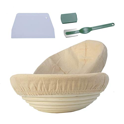 CORECISE Bread Proofing Basket 2 Pack, 10 Inch Bread Banneton Basket + Bread Lame +Plastic Dough Scraper+ Linen Liner Cloth,For Professional & Home Bakers (Round)