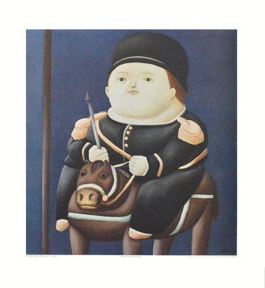 Fernando Botero Kunstdruck Bild hochwertiger Lichtdruck St. Georg 50x50cm