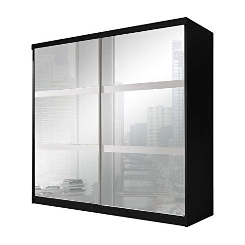 E-MEUBLES Armoire de Chambre avec 2 Portes coulissantes et mirors | Penderie (Tringle) avec étagères (LxHxP): 183x218x61 Ben 10 (Noir)