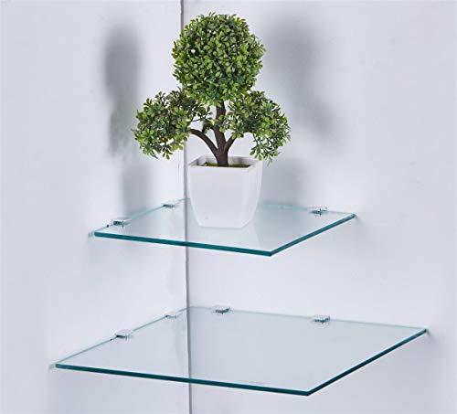 Eckregal Glasregal Glasplatte quadratisch in 3 Größen 25 I 35 cm in schwarz, weiß oder klar Glas Klar 25 cm