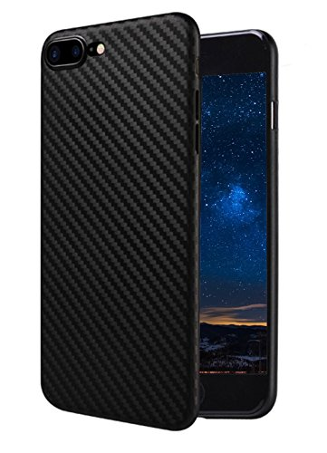 MADIBA Hülle kompatibel mit iPhone 8 Plus iPhone 7 Plus Carbon Case Design Black (Ultra Dünn), FederLeicht Bumper Cover Silikon Handyhülle