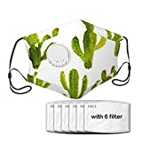 Diooe Watercolor Cactus Set Balaclava Bandanas with Breathing Valve with 6 PCS Carbon Filters