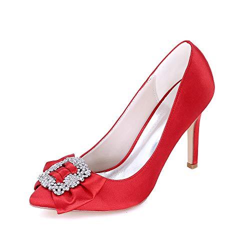 Zapatos de vestir de boda zapatos de boda cómodos Mujeres Nupcial Tacón alto Bombas de diamantes de imitación en punta puntiaguda Stilettos Zapatos de vestir de novia de satén,Rojo,US7.5/EU38/UK5.5