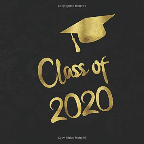 Class of 2020 Guest Book: Golden letters & Graduation Cap - Gold ornament background with gold letters