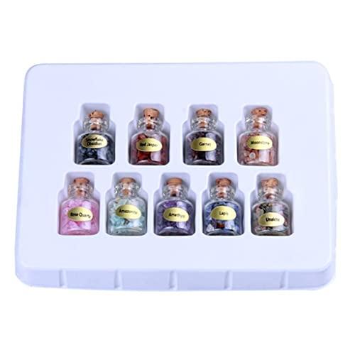 SKYVII Juego de 9 minibotellas de piedras preciosas con cristales curativos de reiki Wicca