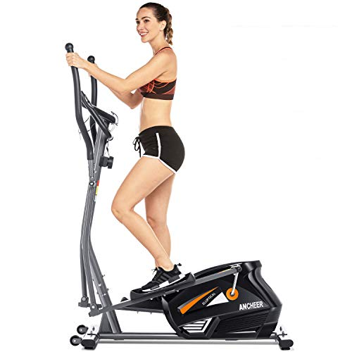 ANCHEER Elliptical Machine for Home Use,Magnetic Elliptical Exercise Machine 300 lbs,Best Elliptical Trainer for Small Spaces, no Need Power Cord, Adjustable Resistance (siliver)