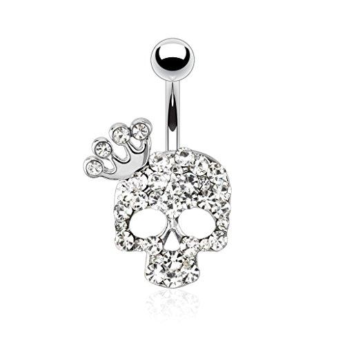 Perforación Cult - Ombligo Piercing acero quirúrgico joyas de plata con diseño de calavera