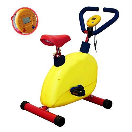 WSCQ Cyclette per Bambini, Attrezzature per Il Fitness Resistenza Regolabile per Bambini con Display LCD Adatto a Bambini di età Compresa tra 3-8/90-140 cm, Giallo