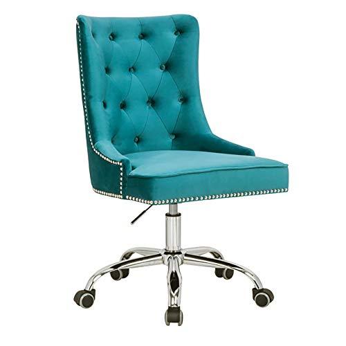 riess-ambiente.de Design Bürostuhl Victorian Samt türkis mit Armlehne Stuhl höhenverstellbar mit Leichtlaufrollen