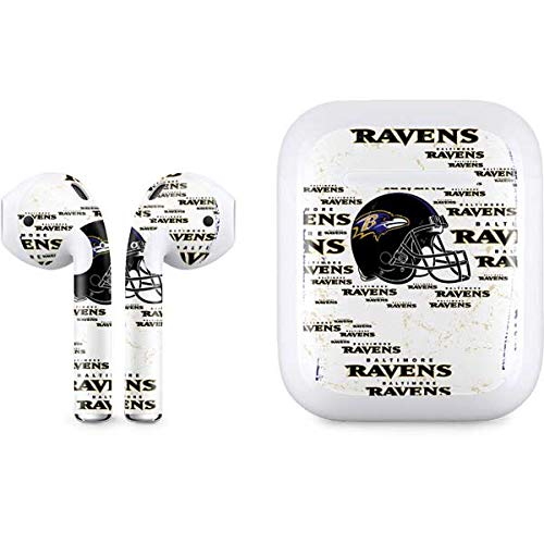 Skinit Decal Audio Skin for Apple AirPods with Lightning Charging Case - Officially Licensed NFL Baltimore Ravens - Blast Design