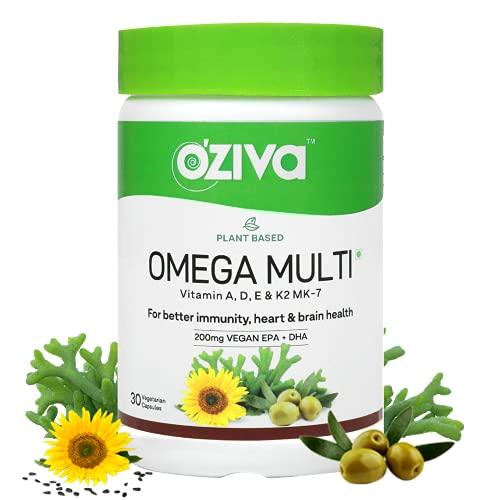 OZiva Plant Based Omega Multi (with Vegan Omega 3, Plant Vitamins and Extra Virgin Olive Oil, 200mg Vegan EPA + DHA) for Better Immunity, Brain & Heart Health, 30 Vegetarian Capsules