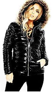 FASHIONGYAL UK D77 Mujer Acolchado Hinchado Efecto Mojado Negro Brillante PU PVC Chaqueta Acolchada Piel con Capucha