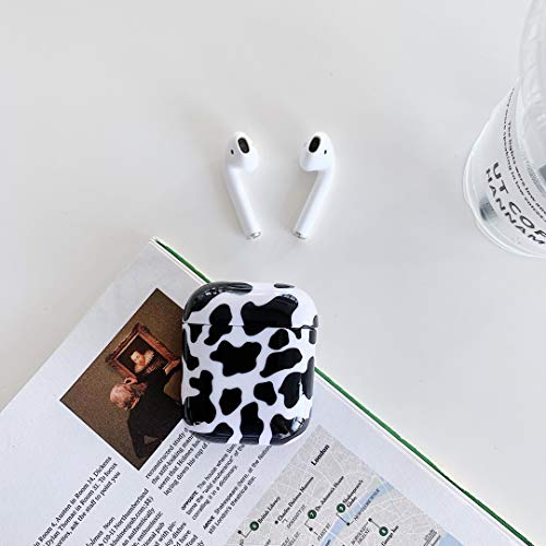 HengJun - Funda rígida para AirPods 2 y 1 niña, diseño de vacas, color negro