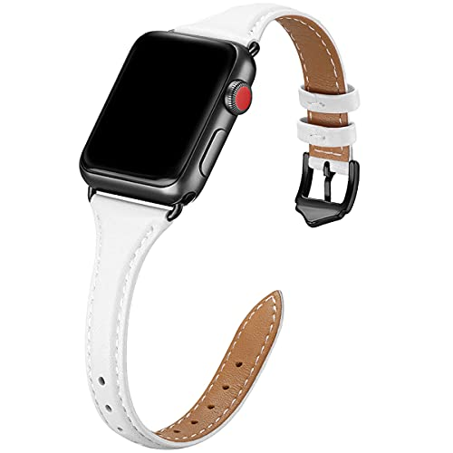 WFEAGL Leather Bands Compatible with Apple Watch 38mm 40mm 42mm 44mm,Top Grain Leather Band Slim & Thin Replacement Wristband for iWatch SE & Series 6/5/4/3/2/1 (White Band+Black Adapter, 38mm 40mm)