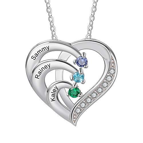 Personalizada Collar Plata 925 Colgante de con Corazón Collar con Nombres Grabados Madre e Hija Collar Regalo para Mujer Día de la Madre San Valentín Navidad (3 Nombres)