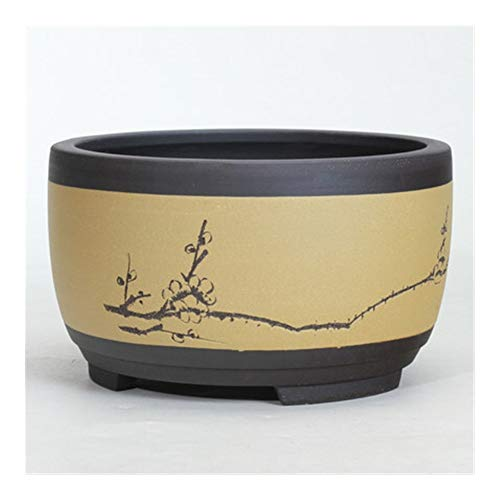 Exquisite Simplicity can be Used to Decorate The h Bonsai Flowerpot Ceramic Round Large Medium and Small Bonsai Pot Green Plant Pot Drum-Shaped Chinese Style Ventilation Basin