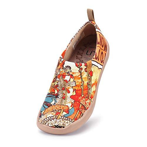 UIN Scarpe Espadrillas Casual Slip on Mocassini Donna estive Art dipinte Colorate Basse Sneakers Tela da Passeggio (35, Monacan Girl-1)