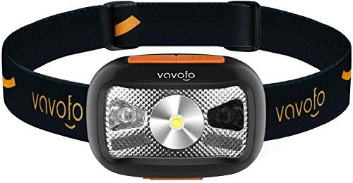 VAVOFOO - Linterna LED de 500 lúmenes con interruptor de luz roja y sensor de movimiento, perfecto para correr, senderismo, ligera, impermeable, banda ajustable (1 unidad)