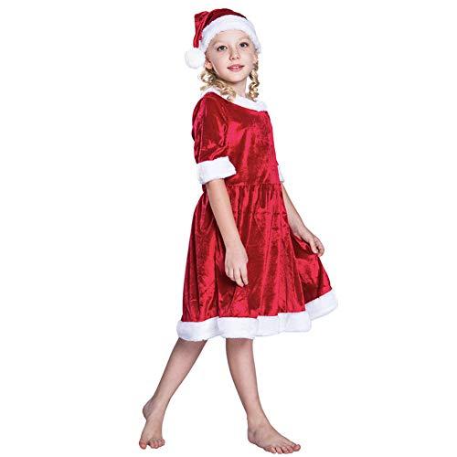 DHRGFWG Kerst Kostuum Jurk voor Kids Meisjes Jurk en Hoed Set Kinderkleding
