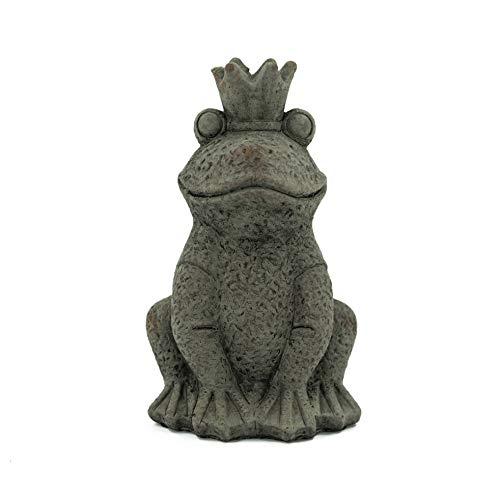 Bambelaa! Figurine de jardin Roi grenouille - Décoration de jardin - Grande taille - Pour l'extérieur et l'intérieur - Ciment assis - Petit : env. 13,2 x 11,9 x 21,8 cm