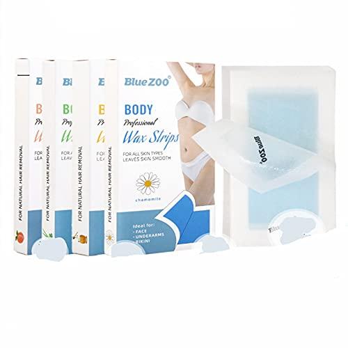 ANIPP Tiras de cera para depilación corporal y cara, tiras de cera desechables no tejidas, aptas para todo tipo de piel (4 cajas)