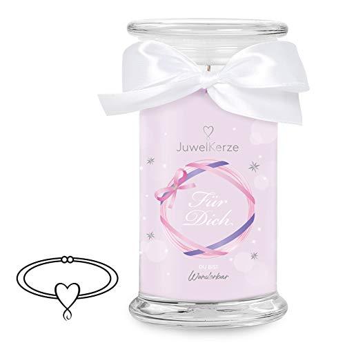 JuwelKerze Schmuckkerze 'Für Dich' große lila Duftkerze mit echtem Silber Schmuck (Armband) - Kerze mit Schmucküberraschung als Geschenk für sie