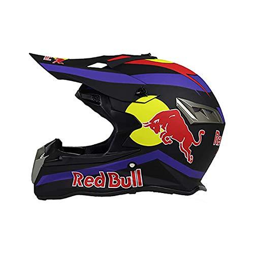Motocross Helm Fullface Helm,Motorradhelm Fahrradhelm ABS-GehäUse DOT ECE-Zertifizierung Mehrere EntlüFtungsöFfnungen Coole Form Schnellverschluss Herausnehmbares Futter Schutzbrille Geben Red Bull
