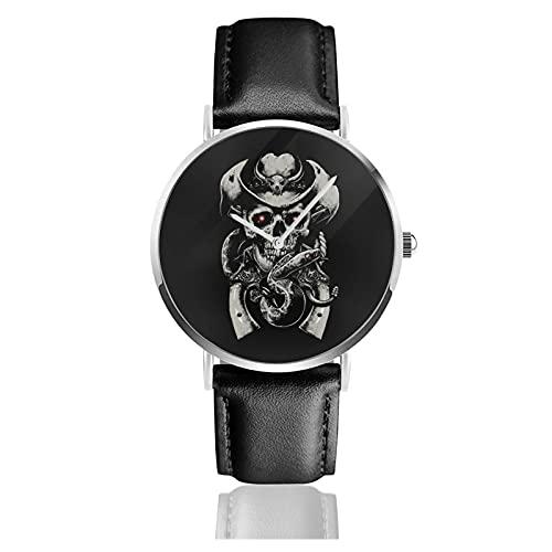 Red Eye Skull Relojes Reloj de Cuero de Cuarzo con Correa de Cuero Negro para Hombre, Mujer, colección Joven, Casual de Negocios