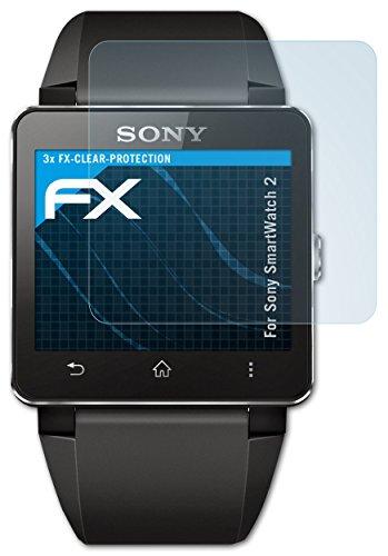 atFoliX Schutzfolie kompatibel mit Sony SmartWatch 2 Folie, ultraklare FX Bildschirmschutzfolie (3X)
