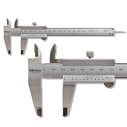 Mitutoyo Taschen Messschieber 150 mm Serie 530, Ablesung: 0,05 mm mit Feststellschraube 530-101 Tiefenmaß: flach, Gewicht: 0.14