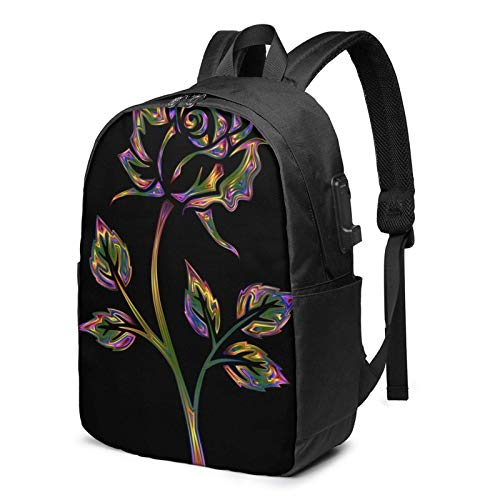 XCNGG Laptop Backpack,17 Inch Travel Lightweight Backpack with USB Charging Port Black and Gold Flowers