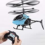 helegeSONG RC Helicopter, 2 Channels Rechargeable Fall-Resistant Remote Control Helicopter Aircraft Kids Toy Gift Blue