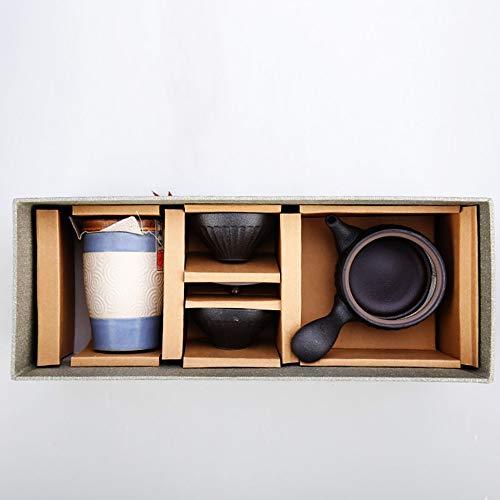 KYEEY Teeservice Reisen Tea Set Tragbare Seitengriff Teekanne 5 Sätze Hochtemperaturbrand Traditional Crafts Keramik-Topf for Büro Teeliebhaber (Size : Free)