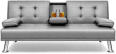 Flamaker Futon Sofa Bed Modern Faux Leather Couch Convertible Folding Recliner Lounge Futon product image