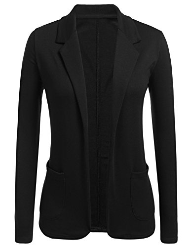 Concep Casual Work Office Slim Blazer Open Front Jacket for Women and Juniors Black XL