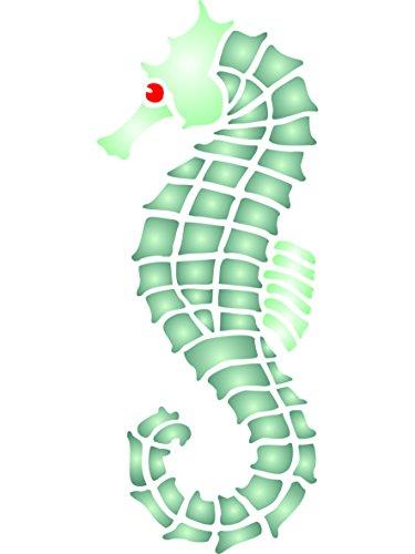 Plantilla de pared de caballito de mar – Reutilizable, grande, océano marino náutico, arrecife – Uso en proyectos de papel scrapbook diario paredes suelos muebles de tela cristal madera etc. small