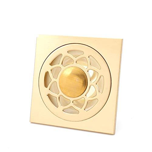 Vierkante drain douchegoot wasmachine, gouden messing geurstop douche afwatering roesten anti-verstopping haarzeef B