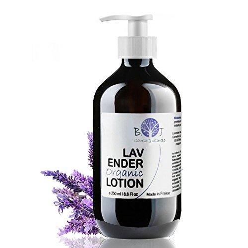 Organische Lavendel Feuchtigkeitsspendende Körperlotion 250 ml BIO Luxuriöses Körpermilch mit das beruhigen Basispflege für sehr trockene Haut Körperpflege Bodylotion mit ätherischem Lavendelöl