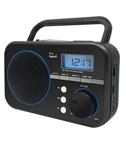 Sytech SY1659BL- Radio Portátil con Sintonizador PLL de 2 bandas AM/FM, Color Negro