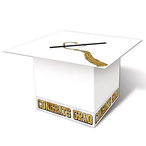 Grad Cap Card Box (white) Party Accessory  (1 count) (1/Pkg)