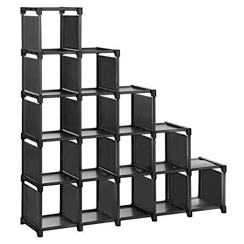 SONGMICS Schuhregal, 16 Würfel, DIY, modulares Aufbewahrungsregal, Bücherregal, Spielzeugregal, Regalsystem für Ankleidezimmer, inklusive Gummihammer, schwarz LSN44BK