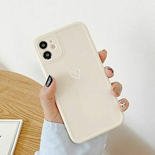ZTOFERA TPU Funda para iPhone 7 Plus/iPhone 8 Plus, brillante suave TPU caso con patrón de corazón simple, delgado ligero protector parachoques cubierta para iPhone 7 Plus/8 Plus - Blanco