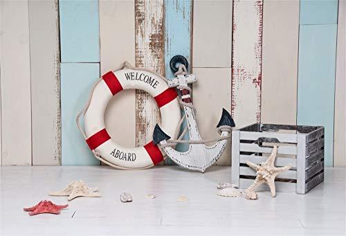 YongFoto 3x2m Vinile Fondale Foto Tema marino Ancora Salvagente Conchiglie Stella marina Sfondo di parete in legno Sfondo fotografico Fotografia Sfondo Studio Prop Decorazione