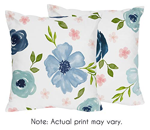 Sweet Jojo Designs Navy Blue and Pink Watercolor Floral Decorative Accent Throw Pillows - Set of 2 - Blush, Green and White Shabby Chic Rose Flower