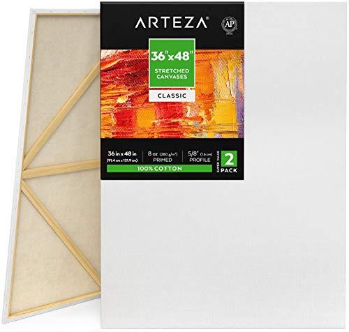 Arteza Lienzos para pintar cuadros, 36x48  (91,4 x 121,9 cm), pack 2 lienzos imprimados 100% algodón para pintura acrílica, pouring, óleo y medios húmedos, profesional, aficionado y principiante