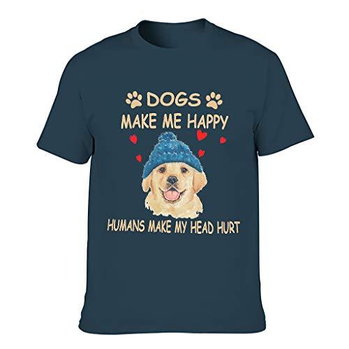 Camisetas de algodón para hombre con diseño de perros haciendo mich feliz. Divertido sarcasmo personalizado. azul marino M